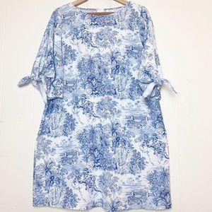 H&M Blue & White Toile Jungle Print Open Sleeve